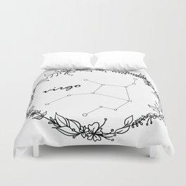 Floral Virgo Constellation Duvet Cover