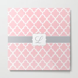 "Baby Pink Moroccan Print with Gray Accent and ""L"" Monogram Metal Print"
