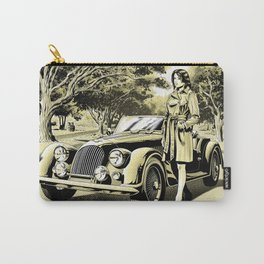 Woman with a vintage car Carry-All Pouch