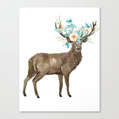 Boho Chic Deer With Flower Crown Canvas Print