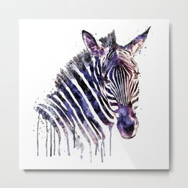 Zebra Head Metal Print