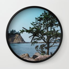Pacific Northwest Coast Island and Tree Wall Clock