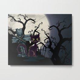 Vintage Halloween Cemetery Cat Metal Print