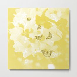 Secret spring garden with butterflies Metal Print