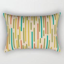 Mid Century Mod Line Dance Pattern in Orange, Teal, Mustard, Olive, and Beige Rectangular Pillow