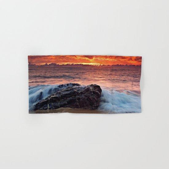 Sea water sunrise red Hand & Bath Towel