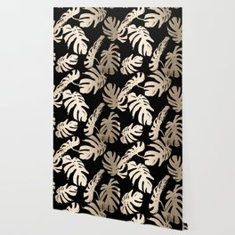 Simply Palm Leaves in White Gold Sands on Midnight Black Wallpaper