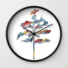 Pine tree #1 - multicoloured ink painting Wall Clock