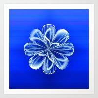 White Bloom on Blue Art Print