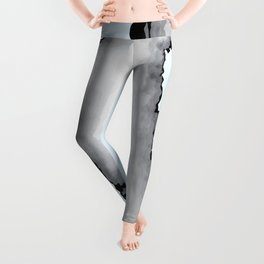 Light Blue Gray and Black Graphic Cloud Effect Leggings