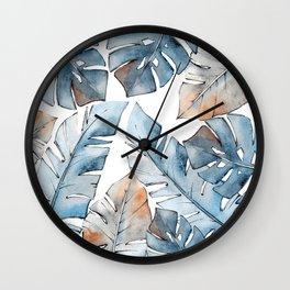 Watercolor Tropical leaves II Wall Clock