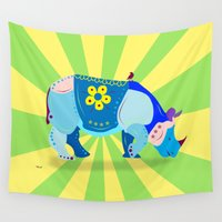 rhino Wall Tapestries featuring Rhino by mark ashkenazi