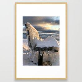 Lake Michigan Ice Bench Framed Art Print