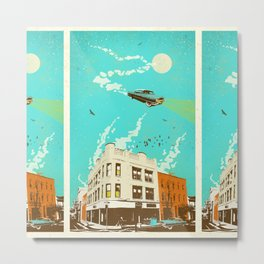 VINTAGE FLYING CAR Metal Print
