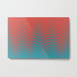 Aqua Blue and Red Triangle Gradient Wave Pattern 2021 Color of the Year AI Aqua and Oxy Fire Metal Print