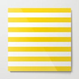 Horizontal Stripes (Gold/White) Metal Print