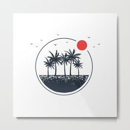 Beach. Palms. Geometric Style Metal Print