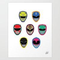 power rangers Art Prints featuring Rangers by Ocelotdude Designs