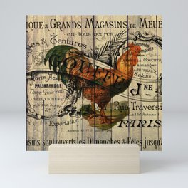 vintage typography barn wood shabby french country poulet chicken rooster Mini Art Print