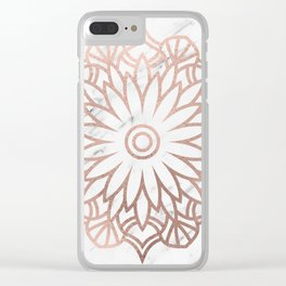 Marble mandala - floral rose gold on white Clear iPhone Case