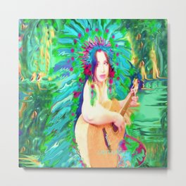 HAWAIIAN PRINCESS,INDIAN FEATHER HEAD DRESS LADYKASHMIR Metal Print