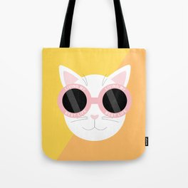 Living My Best Life - White Cat Tote Bag