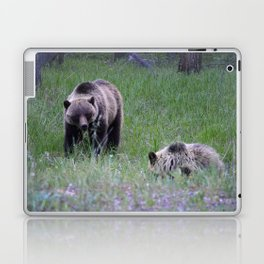 Grizzly mother & cub in Jasper National Park   Canada Laptop & iPad Skin