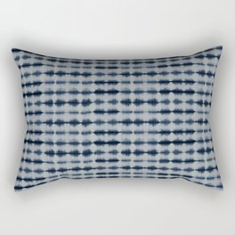 Shibori Frequency Horizontal Navy and Grey Rectangular Pillow