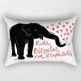 Ride bicycles not elephants. Black elephant, Red text Rectangular Pillow
