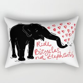 Ride bicycles not elephants. Black elephant, Red text Rectangular Pillow