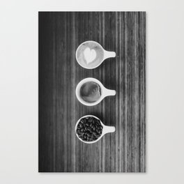 Three Coffee (Black and White) Canvas Print