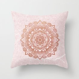 Mandala on concrete - rose gold Throw Pillow