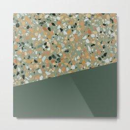 Terrazzo Texture Military Green #4 Metal Print