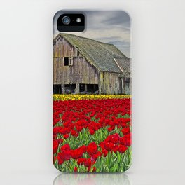 RED TULIPS AND BARN SKAGIT FLATS iPhone Case