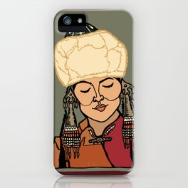 Turkic Woman in Traditional Hat iPhone Case