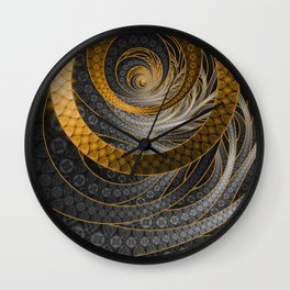 Banded Dragon Scales of Black, Gold, and Yellow Wall Clock