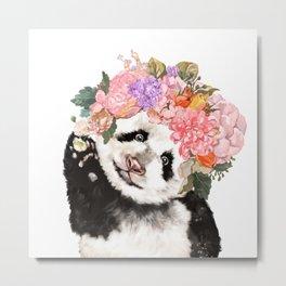 Baby Panda with Flowers Crown Metal Print