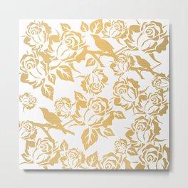 Gold Roses on White Metal Print