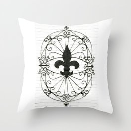 Wrought Iron Fleur de Lis Throw Pillow
