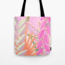 Modern Jungle Plants - Pink Green Purple Tote Bag