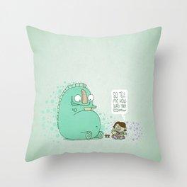Monster and Tea Throw Pillow
