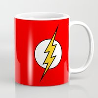 the flash Mugs featuring Flash by Merioris