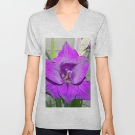 Purple Gladiola Unisex V-Neck