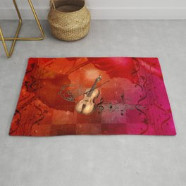 Music, violin with violin bow Rug