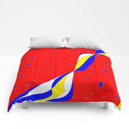 White, Blue and Yellow Stripes with Stars Comforters