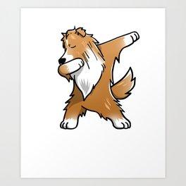 Funny Dabbing Shetland Sheepdog Dog Dab Dance Art Print
