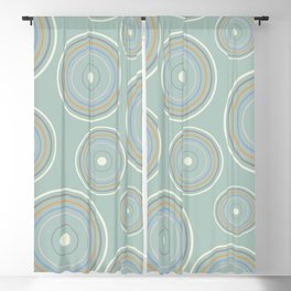CONCENTRIC CIRCLES IN GREEN (abstract pattern) Blackout Curtain