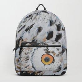 Owl painting,Original Bird art, Owl wall art, Horned Owl, Library decor Backpack