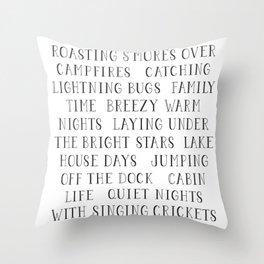 Summer Camping Bucket List Throw Pillow