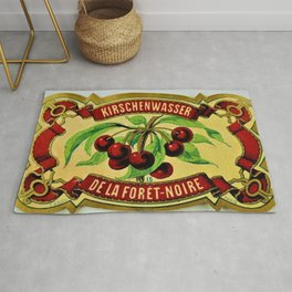 Vintage 1965 French Cherry Wine Bottle Label Kirchenwasser De La Foret-Noire Rug